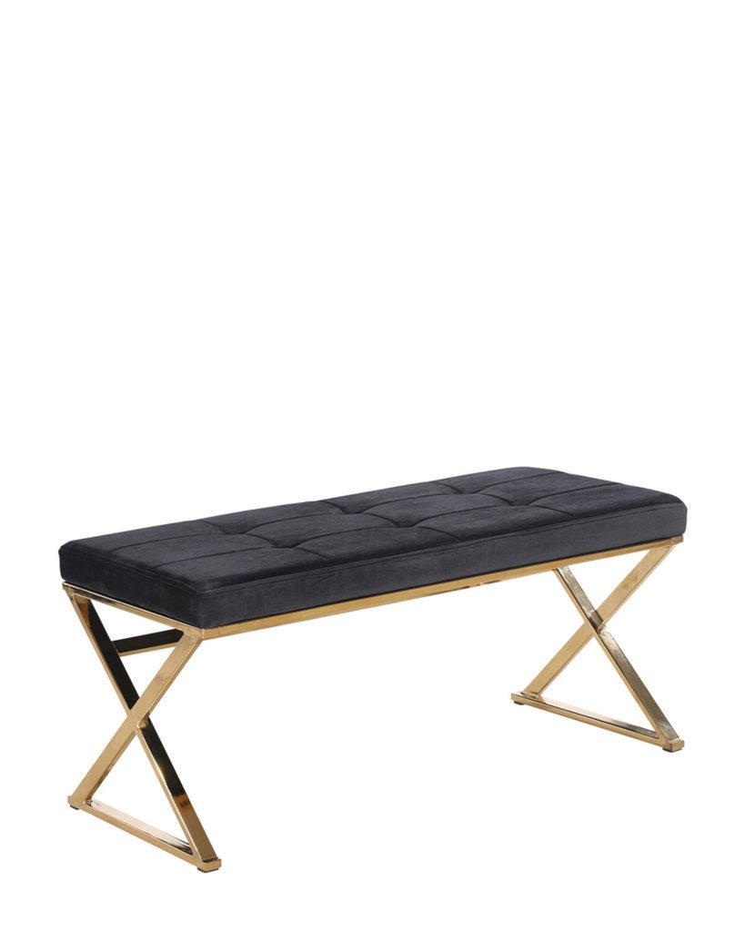 Black & Gold-Tone Velveteen Bench $179.99