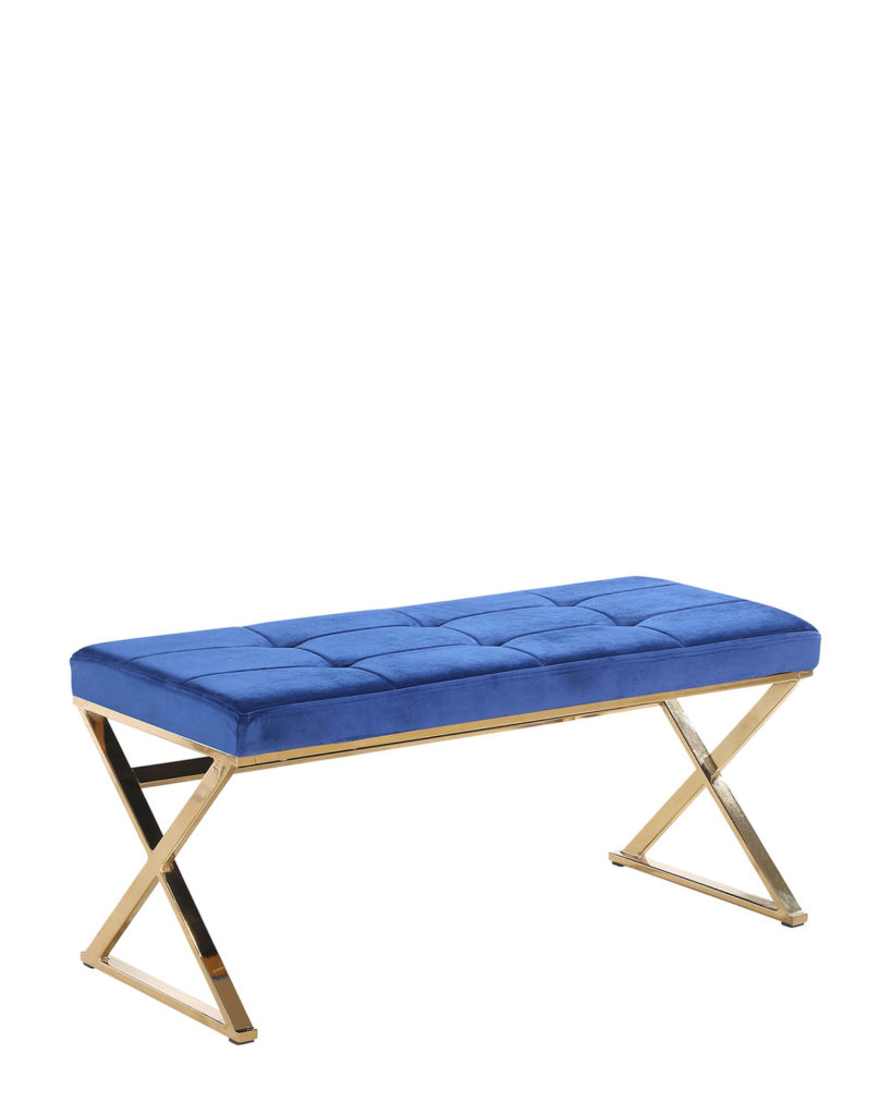 Blue & Gold-Tone Velveteen Bench $179.99