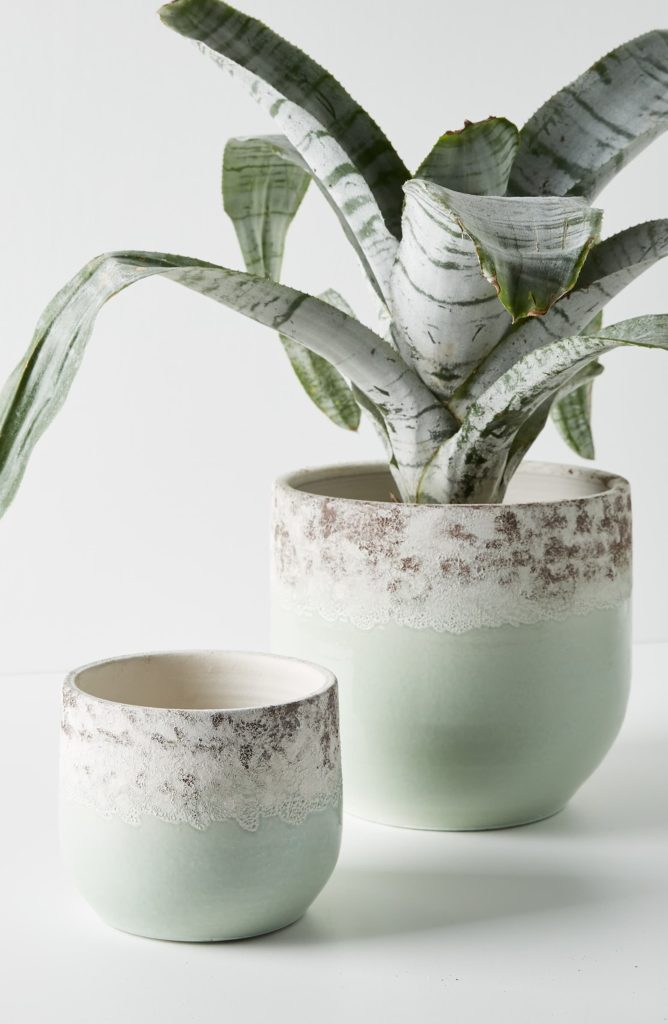 Large Sea Foam Terra Cotta Pot ANTHROPOLOGIE $38.00