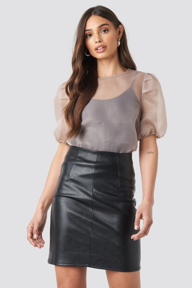 High Waist Short PU Skirt Black $47.95