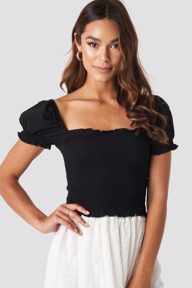 Guipure Shirred Crop Top Black $17.95