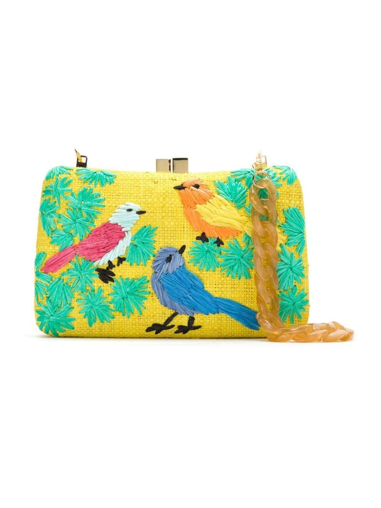 ERPUI embroidered raffia clutch $530