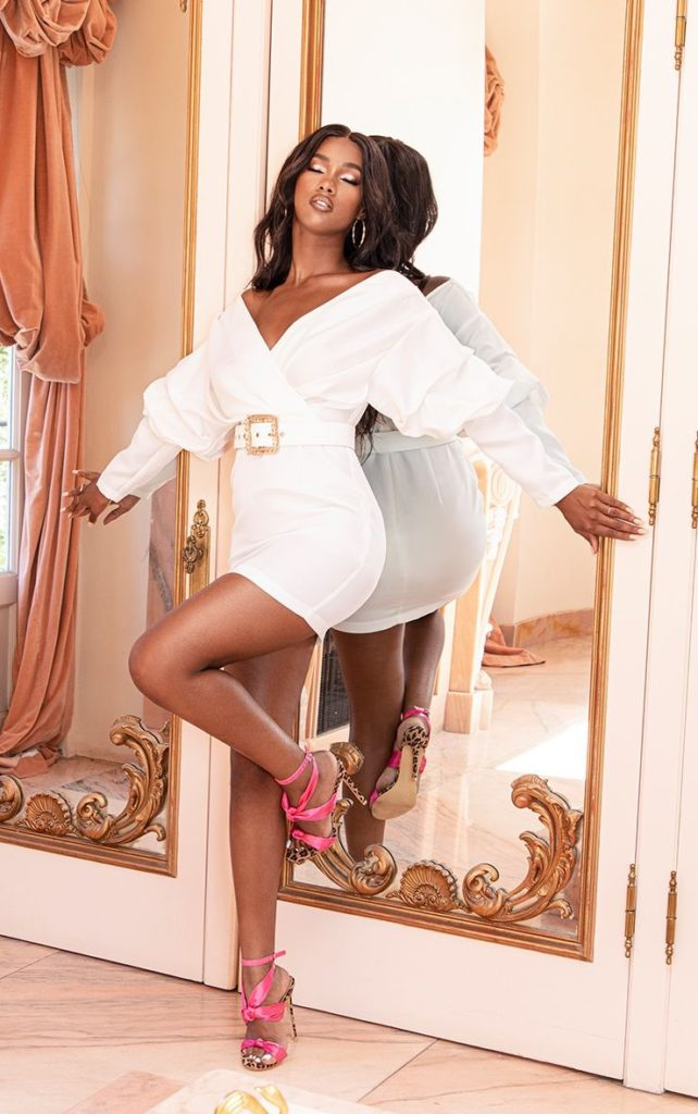 WHITE OFF THE SHOULDER RUCHED BODYCON DRESS $45.00