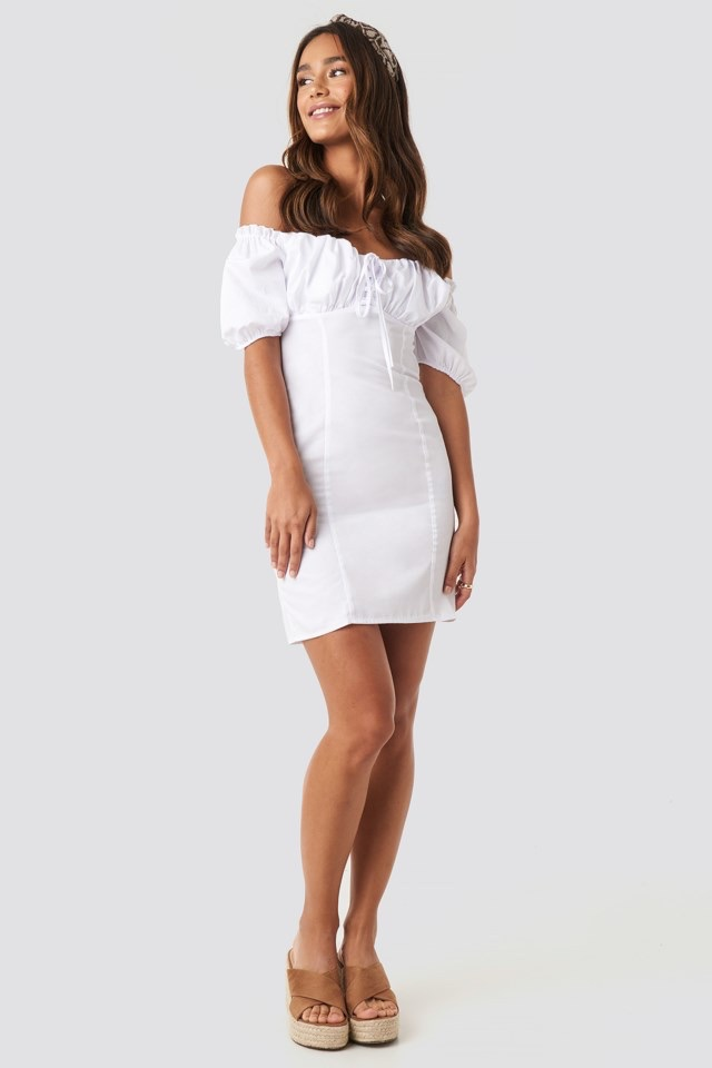 Tie Front Off Shoulder Mini Dress White $53.95