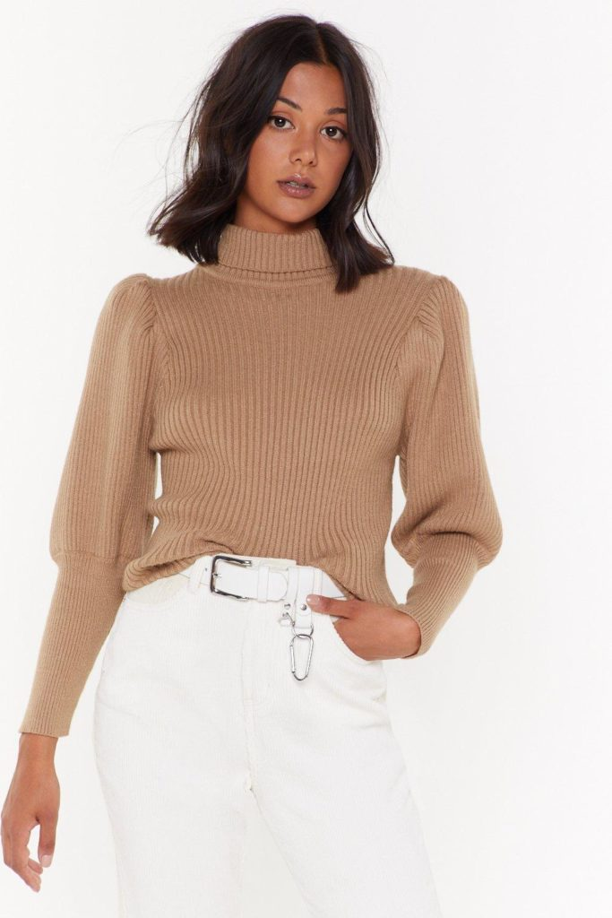 Let's Get Knit Puff Sleeve Sweater $39.00