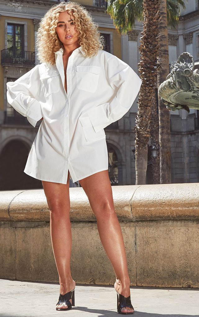 WHITE POCKET DETAIL LONG SLEEVE SHIRT DRESS $50.00