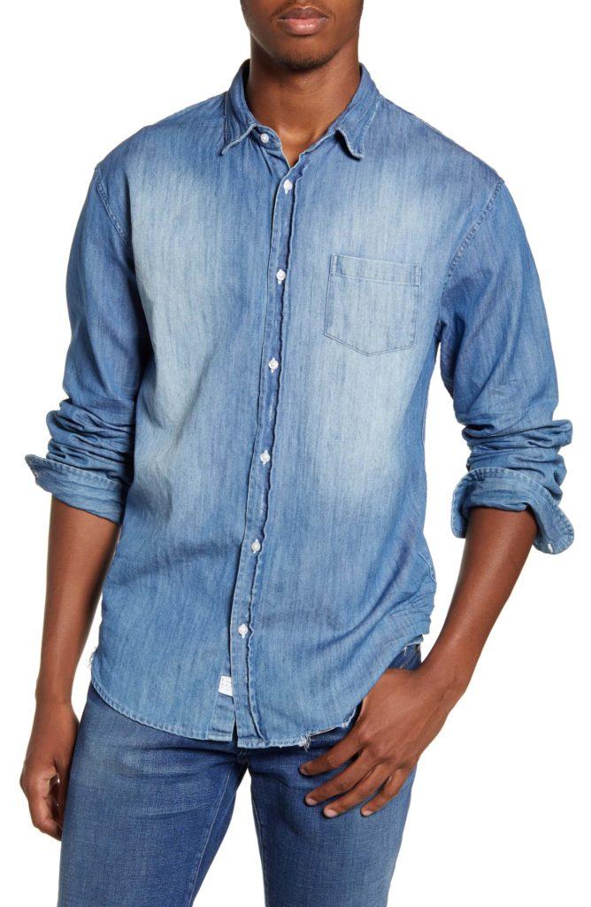 Luke Regular Fit Distressed Button-Up Sport Shirt FRANK & EILEEN $238.00