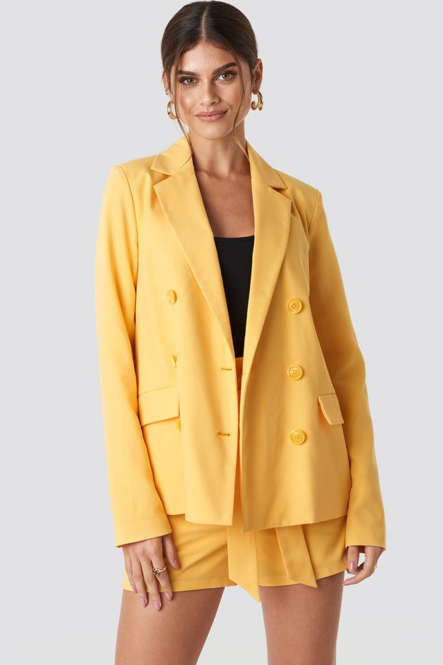 Double Breasted Straight Blazer Yellow $71.95