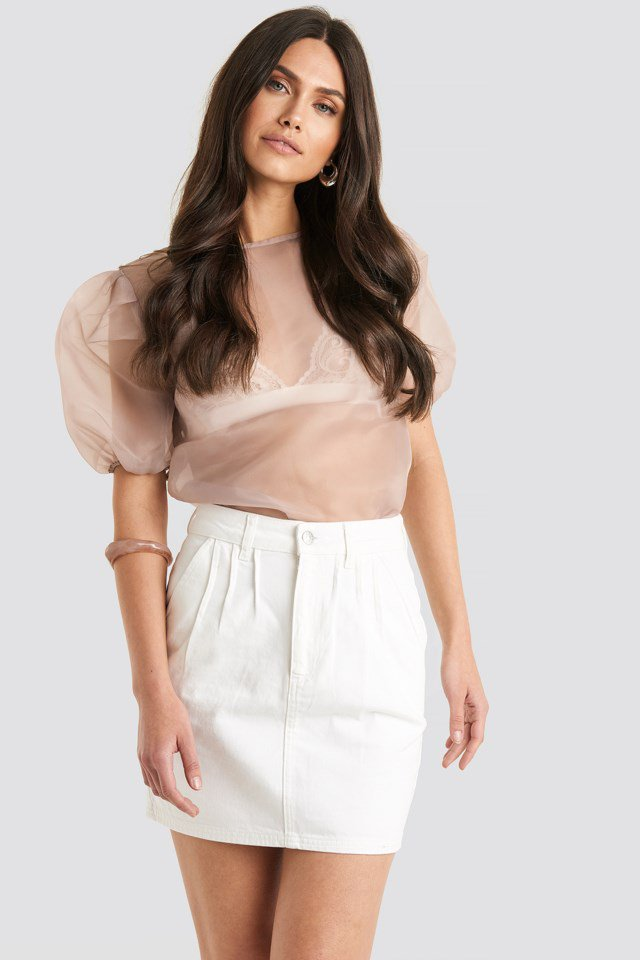 Front Pleat Short Denim Skirt White $35.95