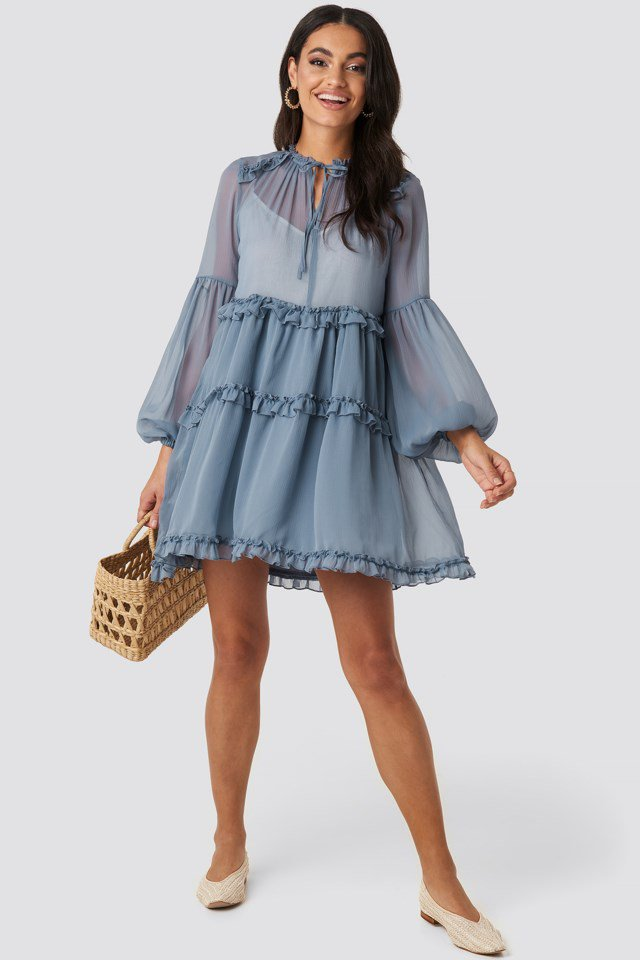 Multi-Frills LS Chiffon Dress Blue $65.95