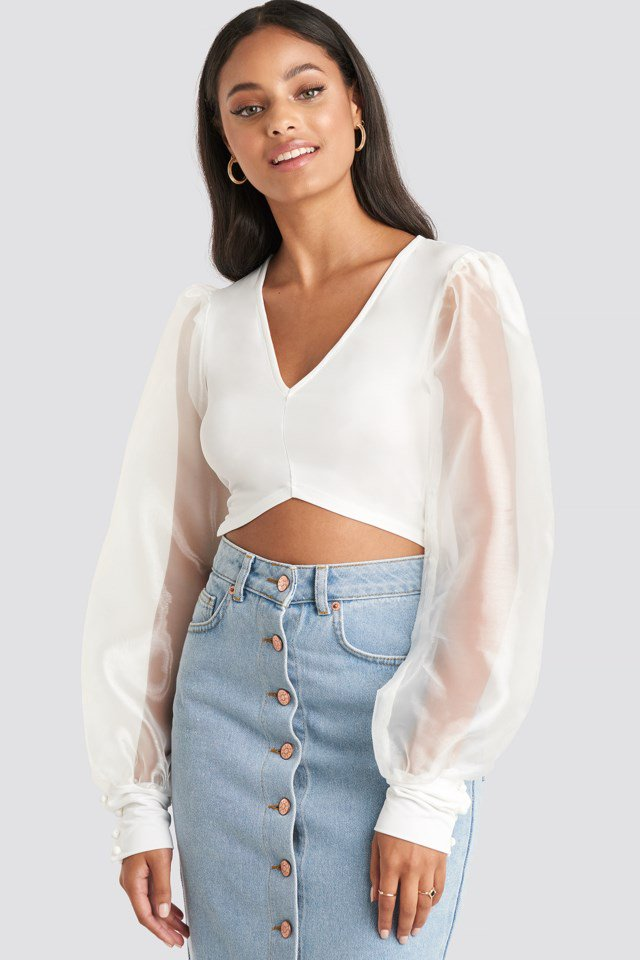 Organza Cropped Blouse White $38.95