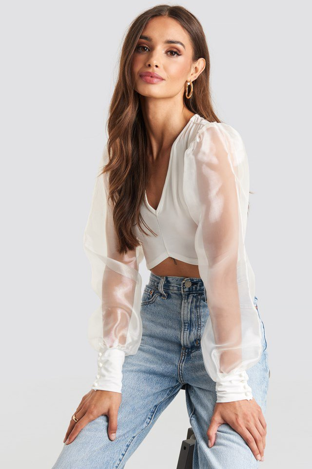 Organza Cropped Blouse White $41.95