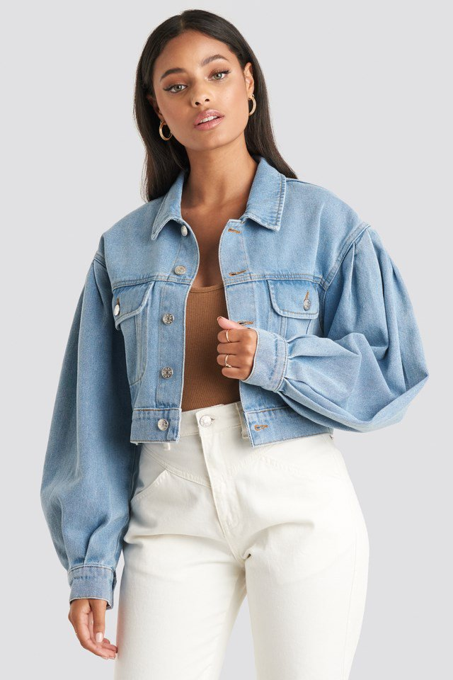 Puff Sleeve Oversized Denim Jacket Blue $71.95