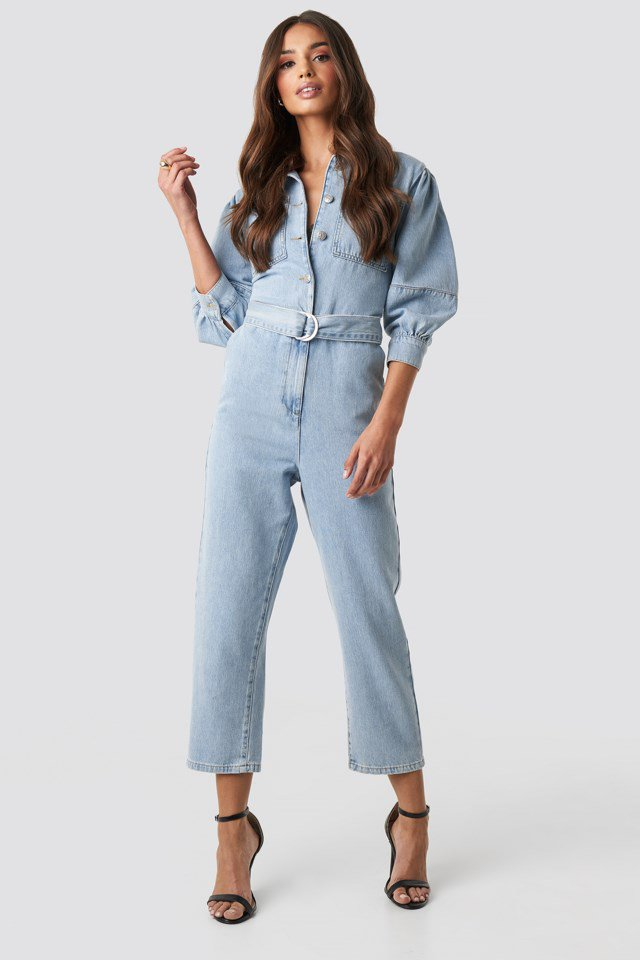 Puff Sleeve Jumpsuit Blue $71.95