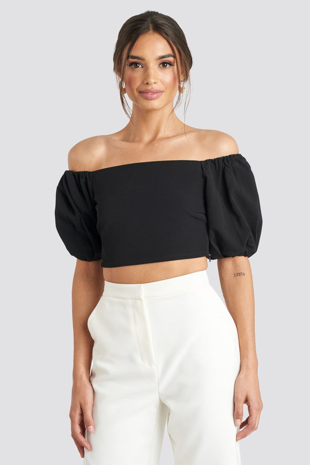 Puff Sleeve Off Shoulder Top Black $41.95