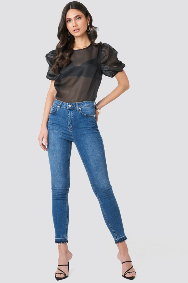 Puff Sleeve Organza Blouse Black $47.95