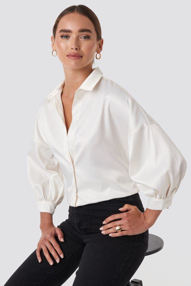 Puff Sleeve Satin Blouse White $47.95