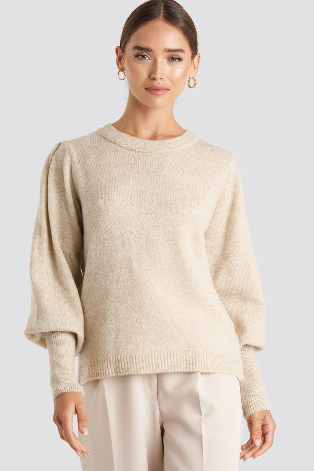 Puff Sleeve Wide Rib Knitted Sweater White $47.95