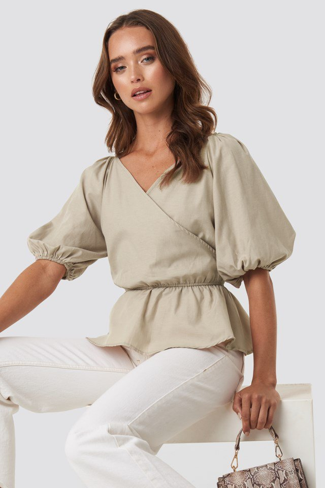 V Neck Wrap Over Elastic Waist Blouse Beige $41.95