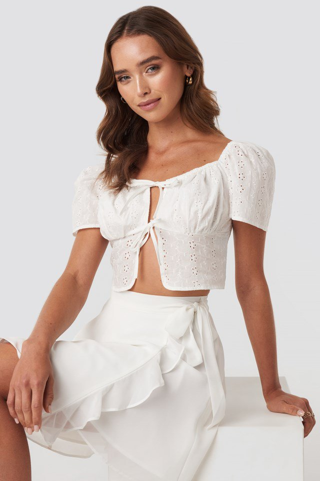 Front Tie Crochet Top White $41.95