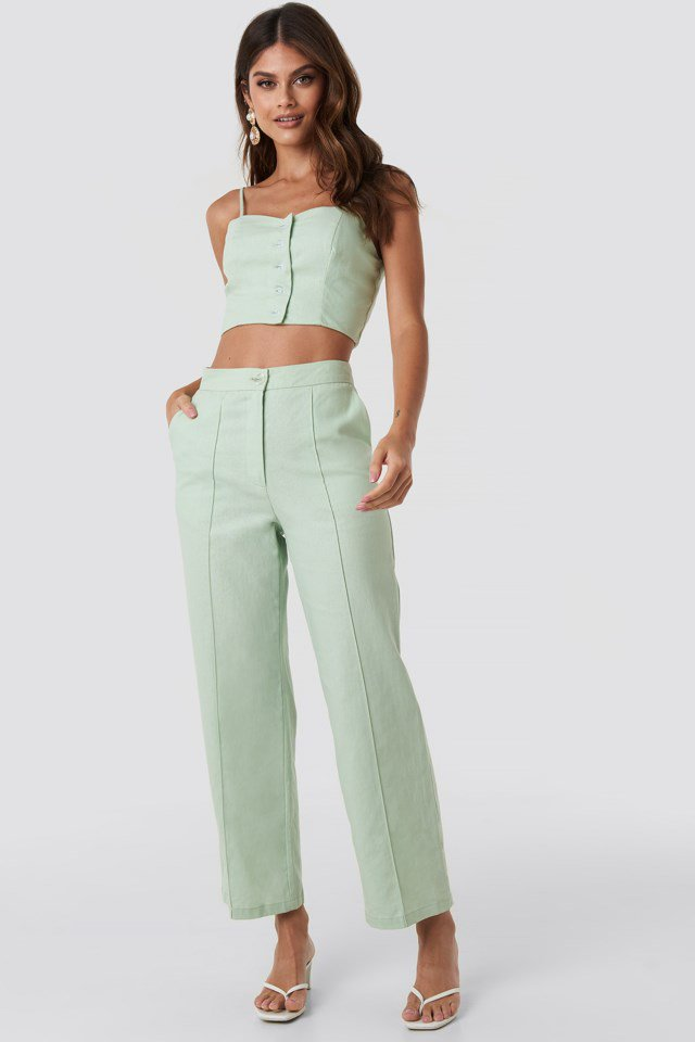 Linen Mix Regular Suit Pants Green $59.95