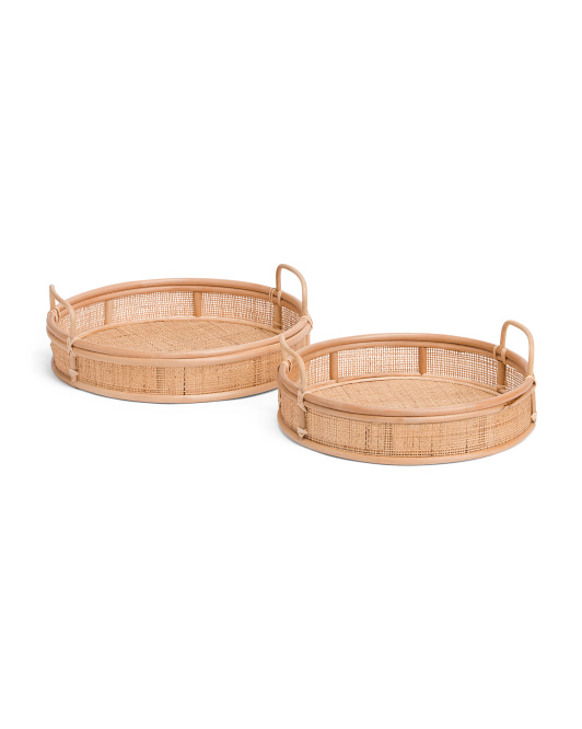 Set Of 2 Round Rattan Trays $59.99