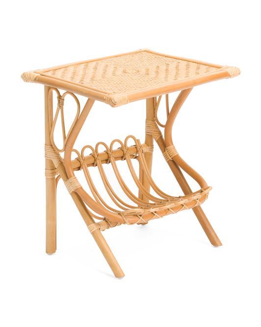 Rattan And Bamboo Accent Table $59.99