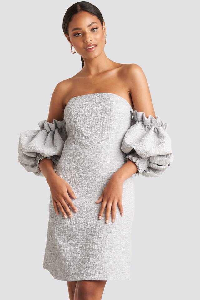 Puffy Sleeve Midi Dress Grey $72.95