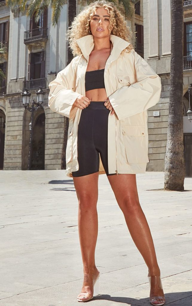 STONE OVERSIZED SHELL UTILITY JACKET $62.00