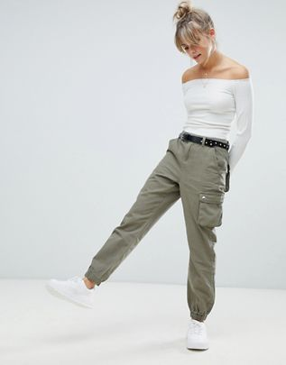 Boohoo cargo pants in khaki $50.00