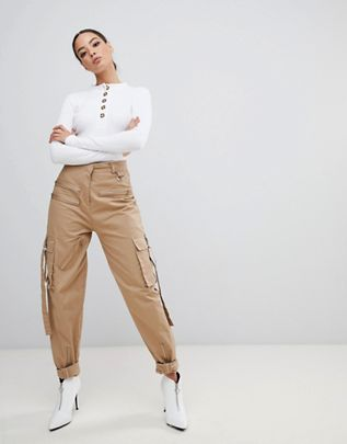 Missguided x Fanny Lyckman cargo zip utility pant in camel $68.00