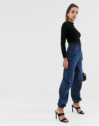 cargo utility pants with pockets and buckle belt detail in navy $48.00