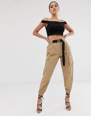 high waist combat pants with belt $51.00