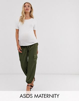 Maternity utility under the bump pants with pocket detail $60.00