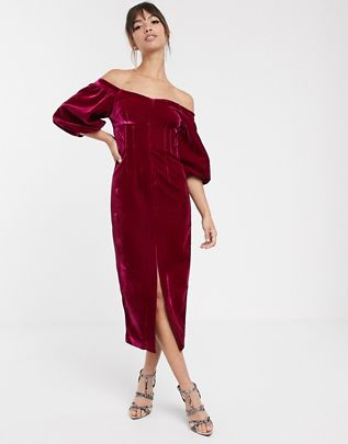off shoulder puff sleeve pencil dress in velvet $151.00