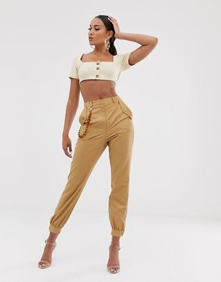 chain detail slim cargo pants $56.00