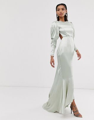 satin fishtail maxi dress with dramatic sleeve $190.00