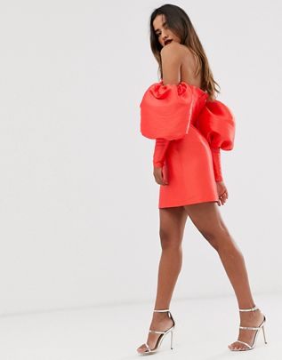 puff sleeve off shoulder mini dress$135.00