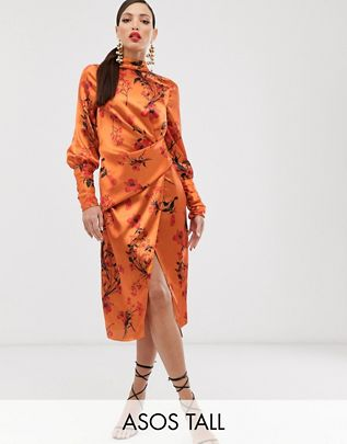 Tall long sleeve midi dress in satin with drape detail in blossom floral print $87.00