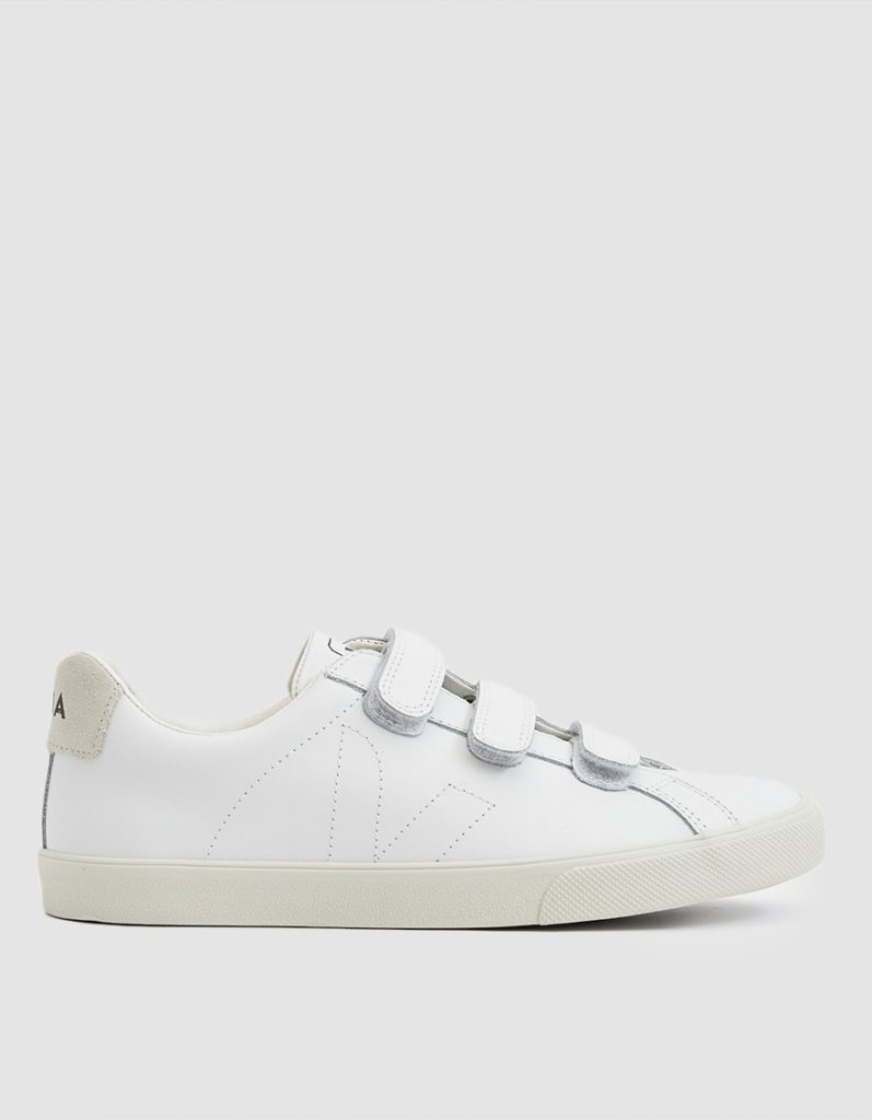 Veja Esplar Leather 3-Lock Sneaker in Extra White $135