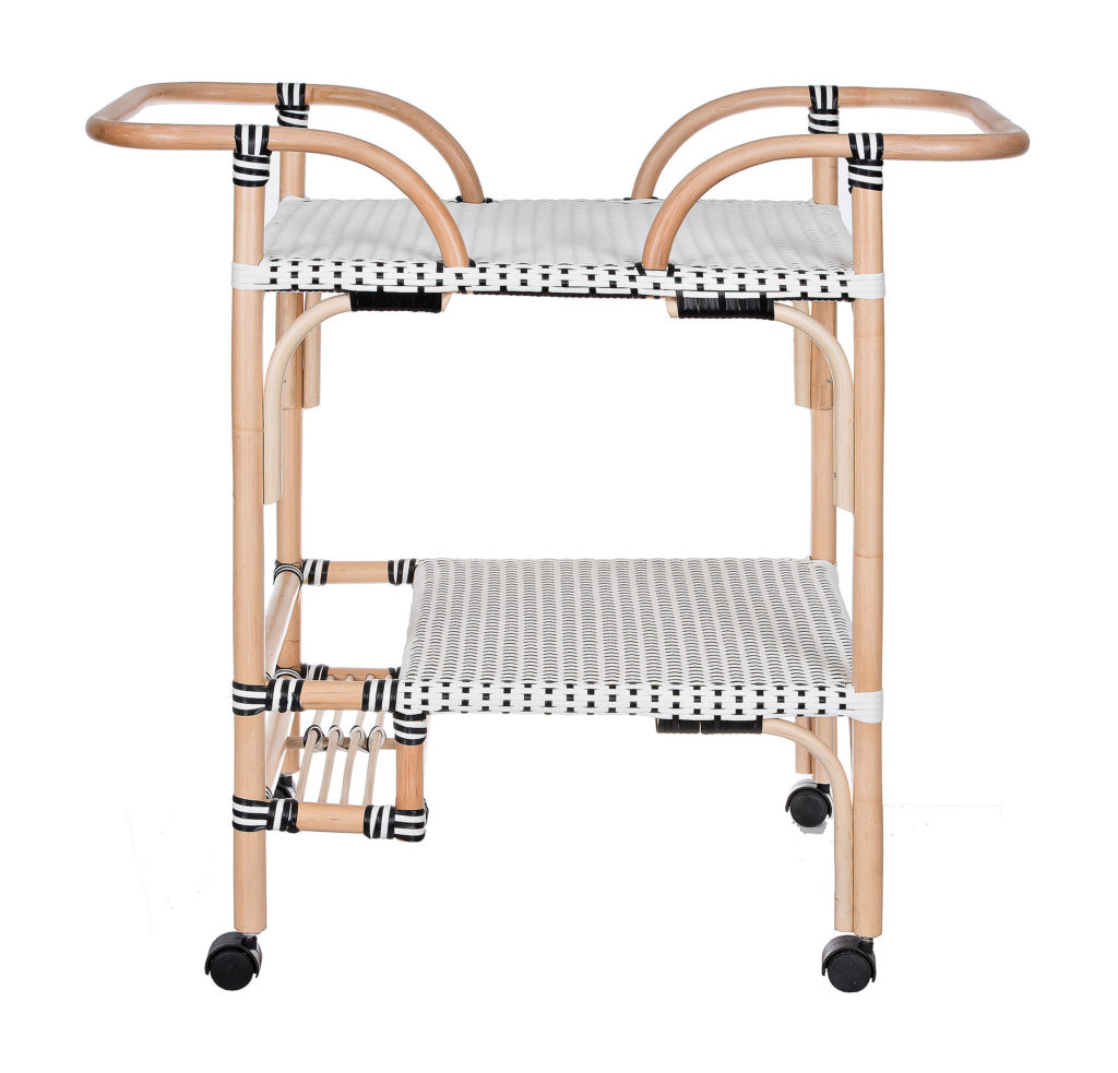 Black and White Rattan Bar Cart with Wood Frame $299.99