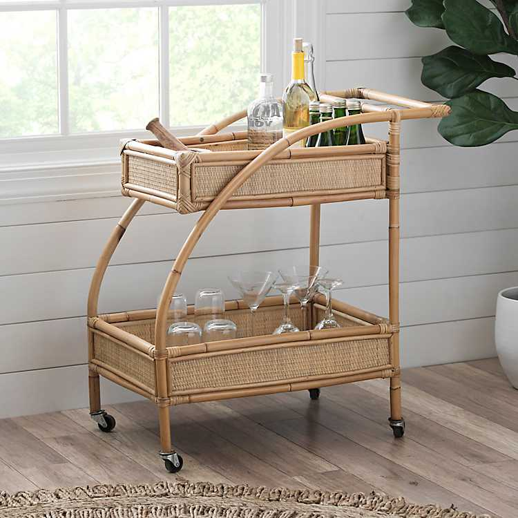 Coastal Rattan Bar Cart $229.99