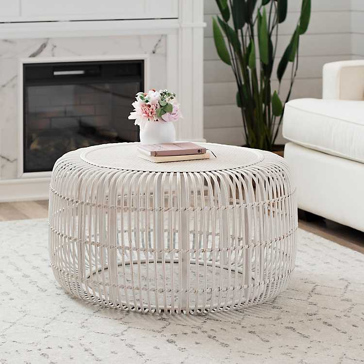 White Bamboo Drum Coffee Table $239.99