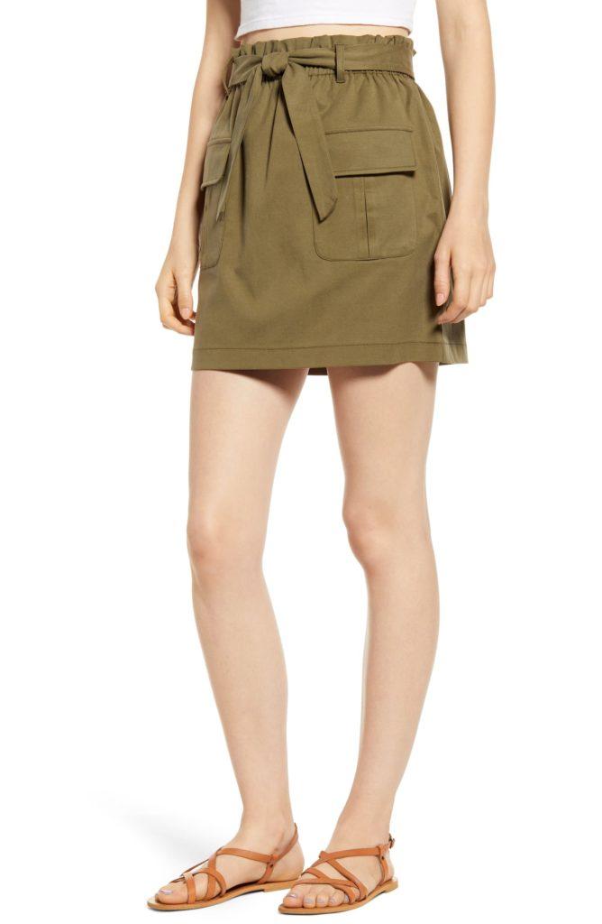 Paperbag Waist Utility Miniskirt MIMI CHICA $39.00