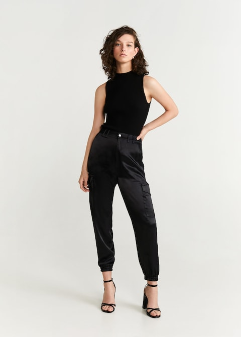 Satin cargo trousers $79.99