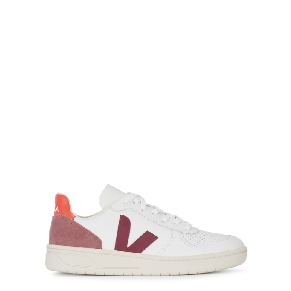 V10 Extra White Marsala Dried Petal & Orange Fluro Sneakers $153.48