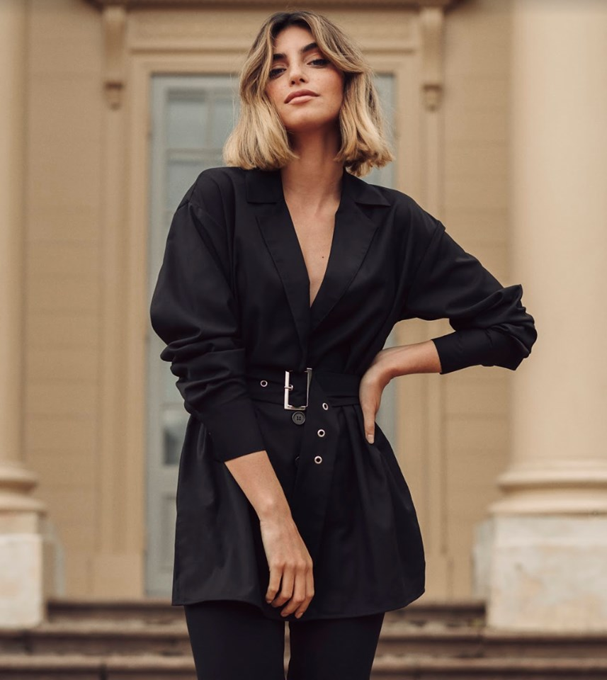 Oversize Belted Shirt Black $59.95