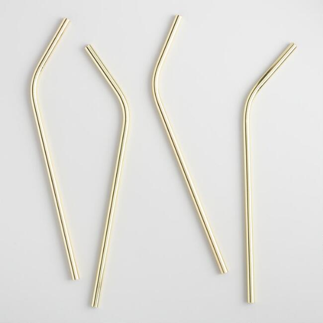 Stainless Steel Gold Straws 4 Pack $12.99
