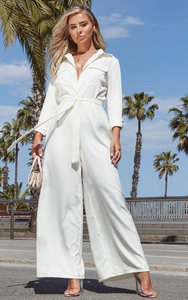 CREAM BELT DETAIL WIDE LEG CARGO JUMPSUIT $42.00