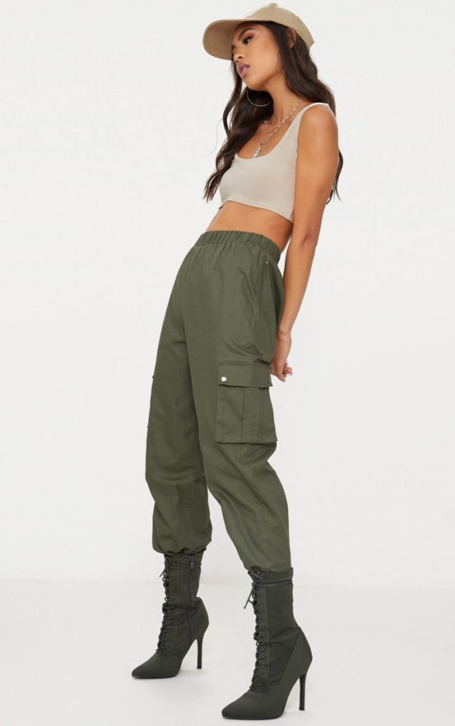 KHAKI POCKET DETAIL CARGO PANTS $21.00